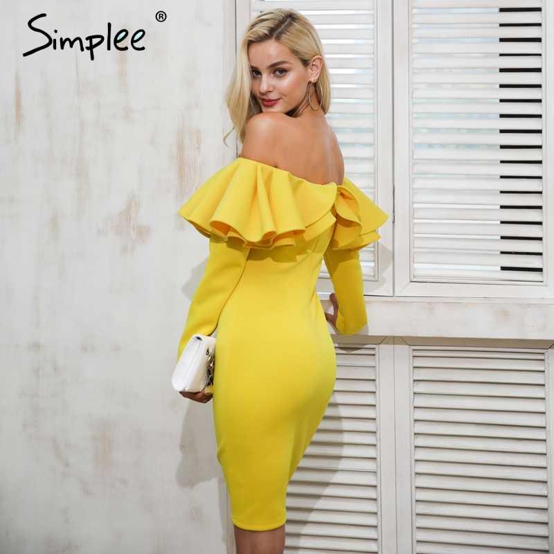 Женское осенне-зимнее платье Simplee, с открытой спиной, элегантное желтое платье с вырезами на плечах и оборками на Рождество