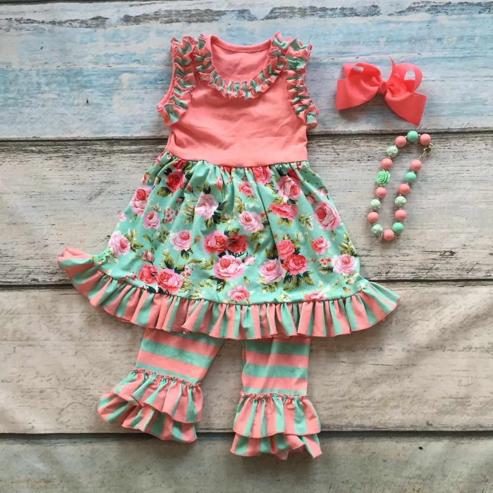 capri summer baby girls ruffles coral mint floral sleeveless clothing cotton boutique outfits top with matching