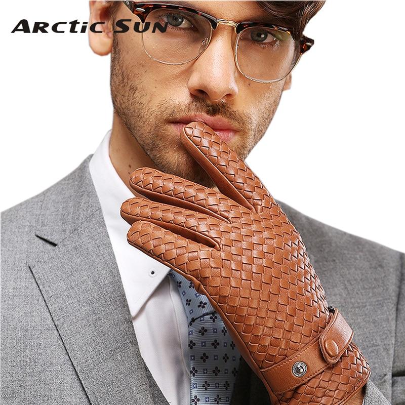 2019 New High end Weave Men Genuine Leather Gloves Fashion Solid Wrist Sheepskin Glove Man Winter