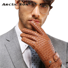 2014 new style high-end weave men Genuine leather gloves fashion wrist sheepskin man winter warmth driving