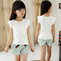 4-10 Years 2017 Summer Girls Clothing Sets Baby Teenage Kids Girl Clothes Short Sleeve T Shirt Tops+Short Pant 2Pcs Suit JW1394