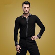 2015 new male adult Latin dance SHIRT MENS shirts Latin training clothes modern dance Rumba cha