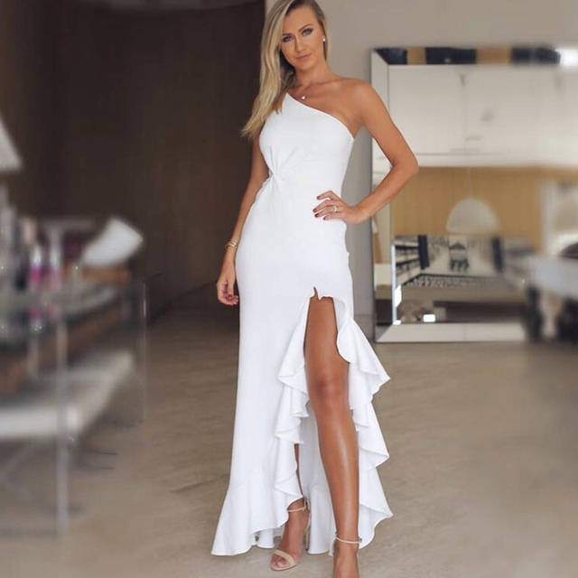 Irregular one shoulder party dress Women 2018 Summer elegant white bodycon  dress Twisted ruffles slit hem dresses vestidos mujer 2ee8ffc132f2