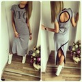 Women Clothing 2016 New Style Short Sleeve O-Neck summer Letter Print Hollow Out Straight Ankle-Length dress casual Women dress
