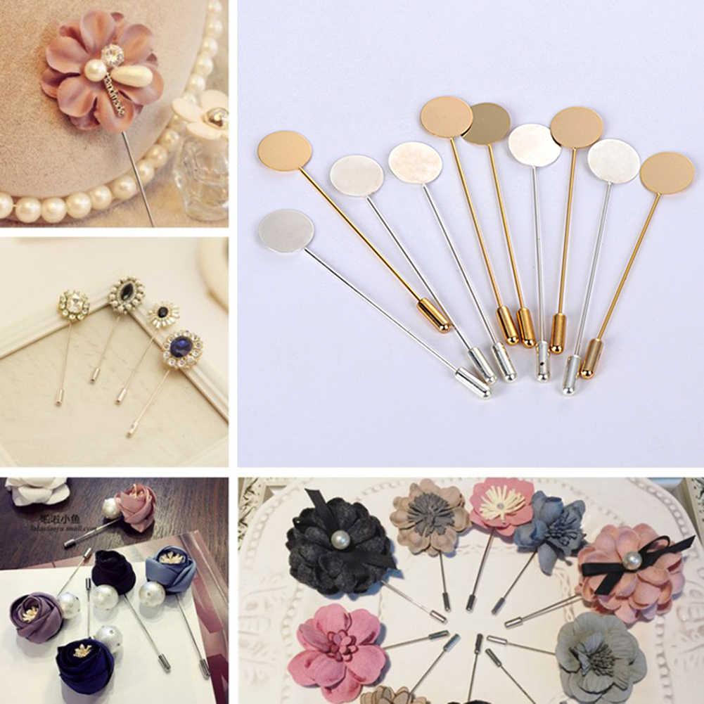 1 Pcs Emas & Perak Berlapis Paduan Tembaga Panjang Pin Bros DIY Kerah Gaun Membuat Perhiasan Bros Base/Tray aksesoris