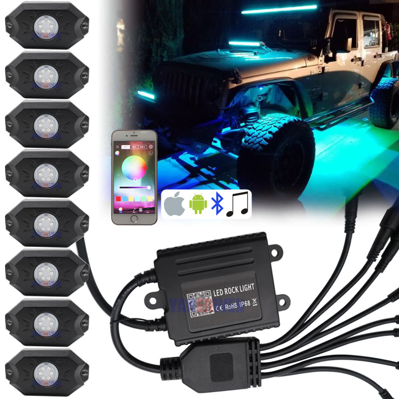 4/8 Pods RGB Led Kit de lumière de roche IP68 Bluetooth contrôle câblage faisceau et commutateur pour tout-terrain SUV 4WD ATV UTE voiture camions