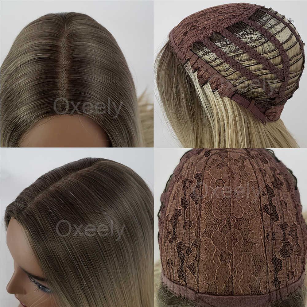Pelucas de pelo sintético ondulado largo Oxeely pelo marrón parte media profunda pelucas para mujeres seda superior peluca fibra resistente al calor pelo