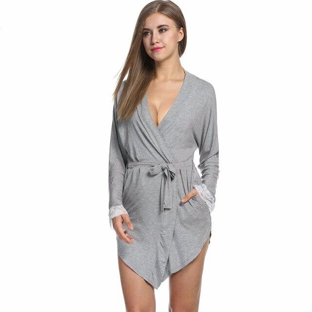 Beauty Sexy Home Dressing Gown Sleepwear Women Lace Sleeve Nightgown Bathrobe Kimono Bath Robe Night Pyjamas Femme Large Size L3