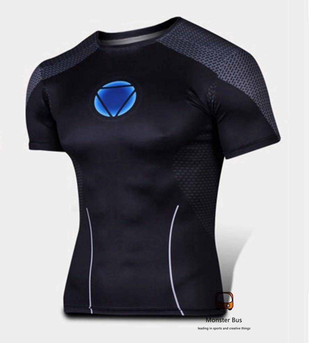 Super Thin Iron Man Shirt 3D Cutting Tony Stark Sports T shirt Lycra Cold Sports Cycle