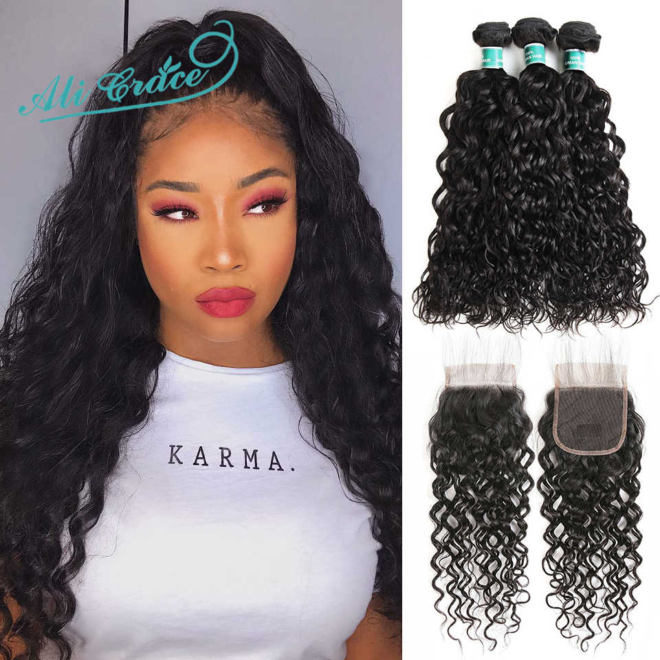 Ali Grace Water Wave Hair Bundles with Closure Brazilian Human Hair With Closure 100% Remy Human Hair 3 Bundles With Closure