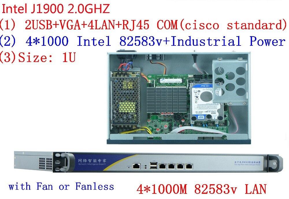 1U Pfsense Celeron J1900 4 ядра сетевой безопасности Управление Desktop маршрутизатор брандмауэра компьютерной индустрии 4 GbE LAN