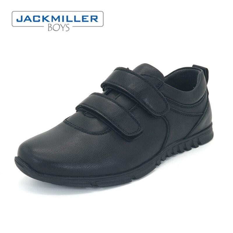 Jackmillerboys School Students Shoes uniform Children Shoes For Boys Flats Dress Black loafer hook loop PU Leather size 32-36