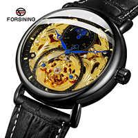 Forsining Top marque automatique mécanique montre d'affaires hommes horloge dorée Phase de lune en cuir montres Relogio Masculino