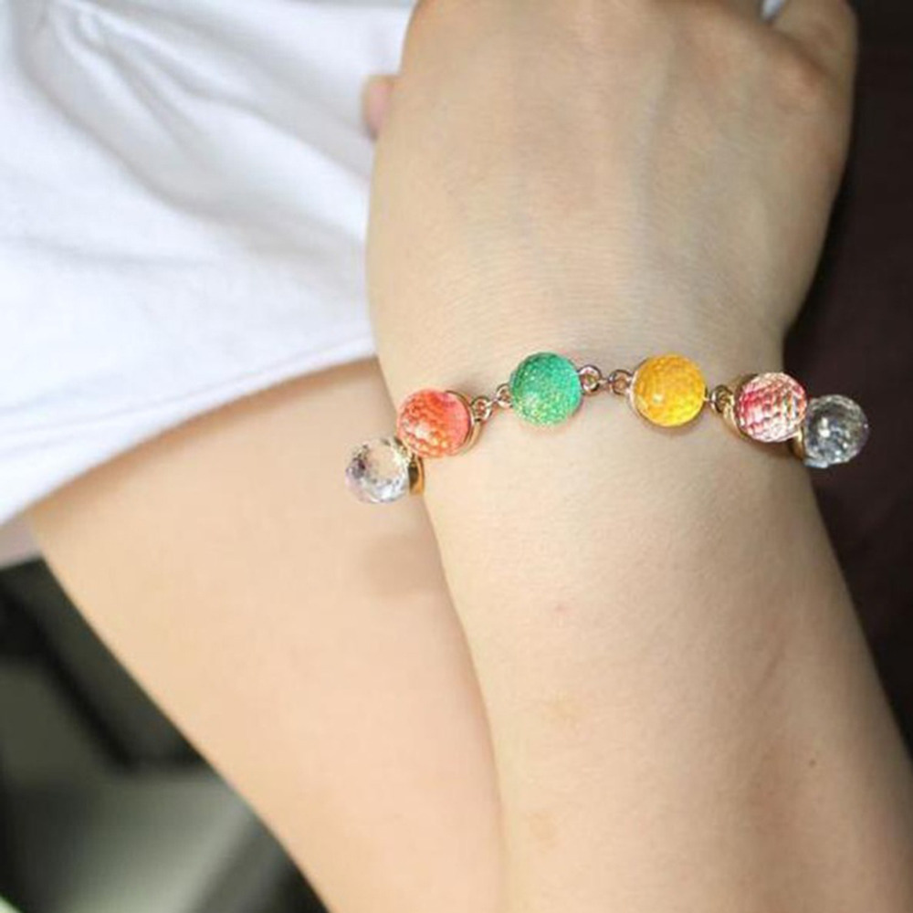 Women Drop Shipping Fashion Accessories Colorful Candy Colored Artificial Crystal Woman Bracelet