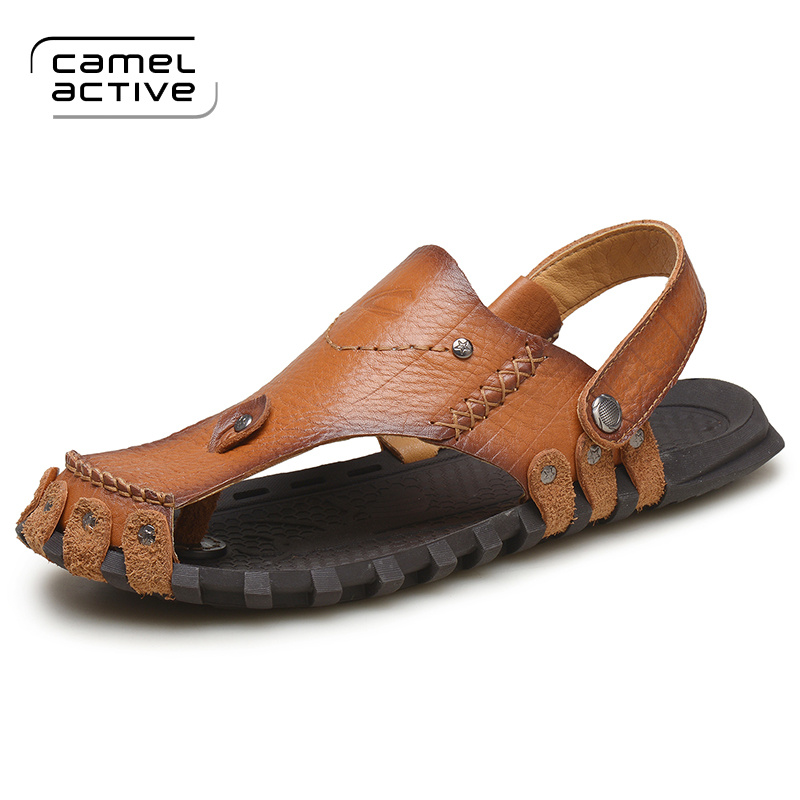 Camel Active New Fashion Summer Beach Breathable Men Sandals Genuine Leather Mens Sandals Man Causal Shoes Plus Size 38-44