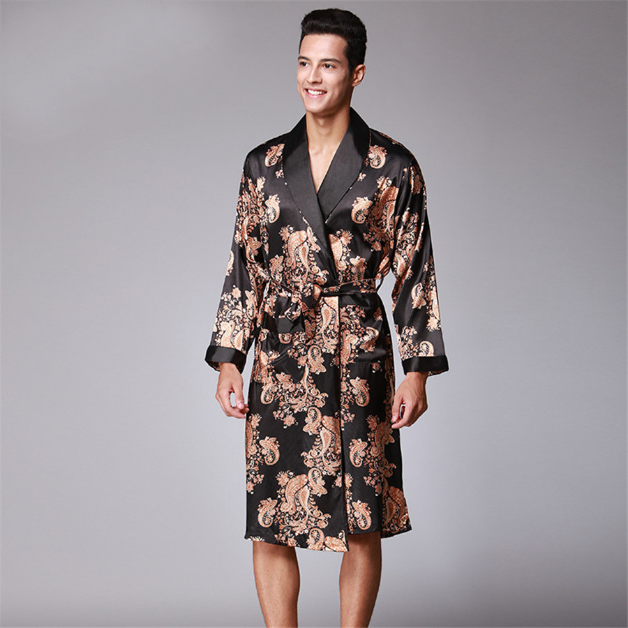 Men Robe 2018 Couple Bathrobe Brand Faux Silk Robes Long Home Clothing Male  Sleep Robe XXL 4 Colors Spring Style-in Robes from Underwear   Sleepwears  on ... 5c850623e