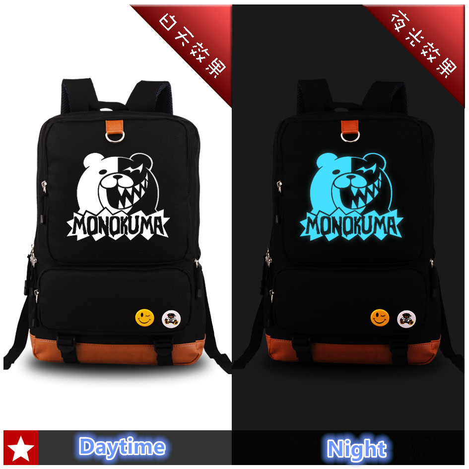2017 New Anime Danganronpa Luminous Backpack Cosplay Trigger Happy Havoc Kawaii Monokuma School Bags Bookbag Laptop Travel Bags sosw fashion anime theme death note cosplay notebook new school large writing journal 20 5cm 14 5cm