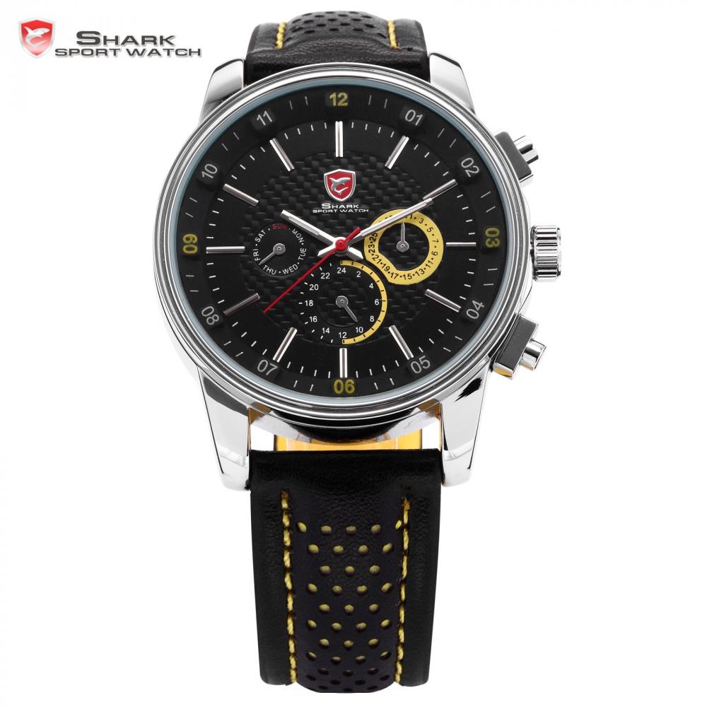 Prix pour Pacifique ange shark sport montre automatique date jour véritable en cuir en acier inoxydable noir jaune hommes militaire quartz montres/sh095