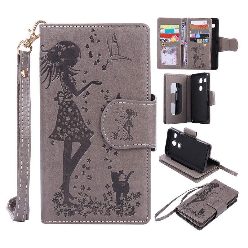 Multi-function Wallet Case For LG Nexus 5X Stand Magnetic Purse Cover + 9 Card Slots + Photo Frame Phone Bag