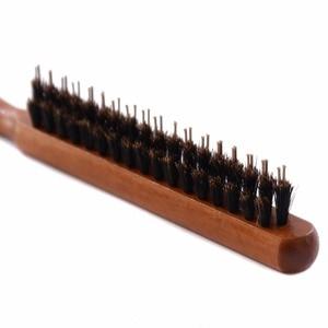 Image 3 - Brosse à poils de sanglier naturels avec manche en bois, Anti perte, peigne pour Salon de coiffure