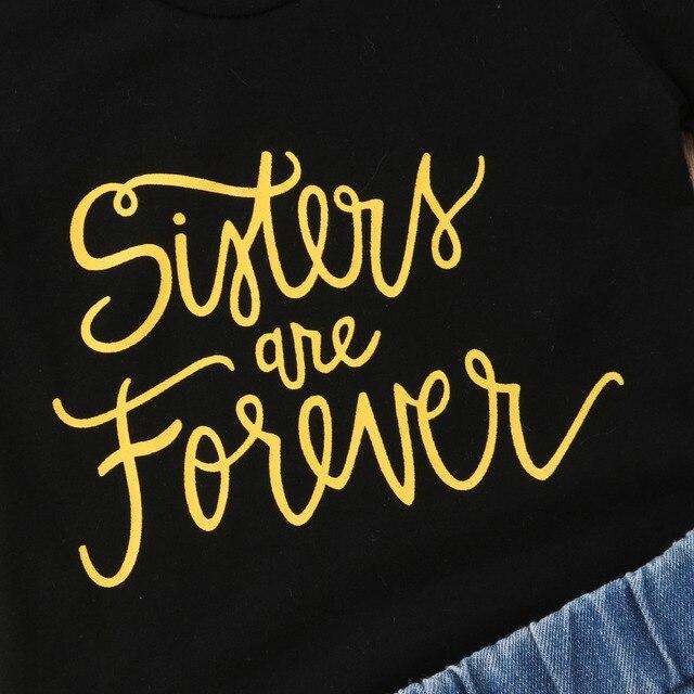 Summer Toddler Kids Baby Girl Letter Print T-shirt Tops+Sequins Denim Shorts Jeans 2PCS Outfits Children Clothing Set 3