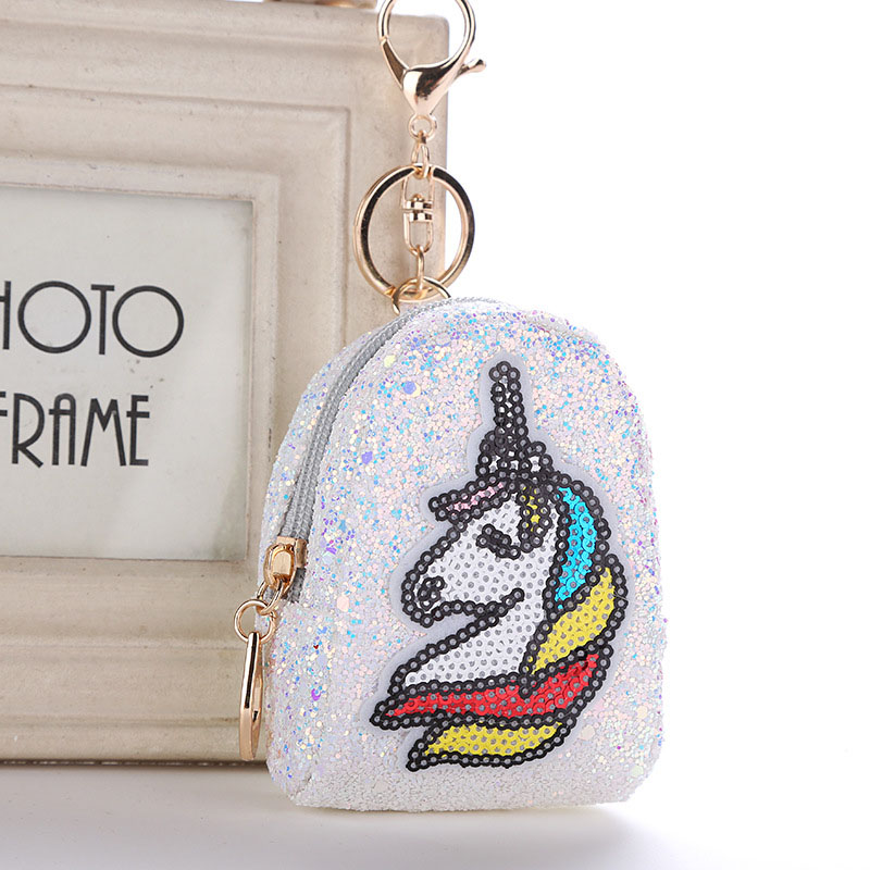 1 Pc Mini Coin Purse Zipper Small Handbag Pu Leather Bag Unicorn Bag Shaped Keychain Decoration Keychain Pendant Fashion Jewelry High Quality Materials