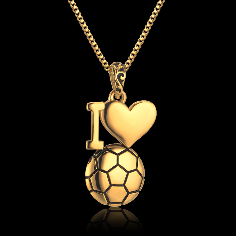 I Love Football Pendant Necklace Jewelry, Stainless Steel Gold Heart Necklace Gift For Women/Men Dropship Products