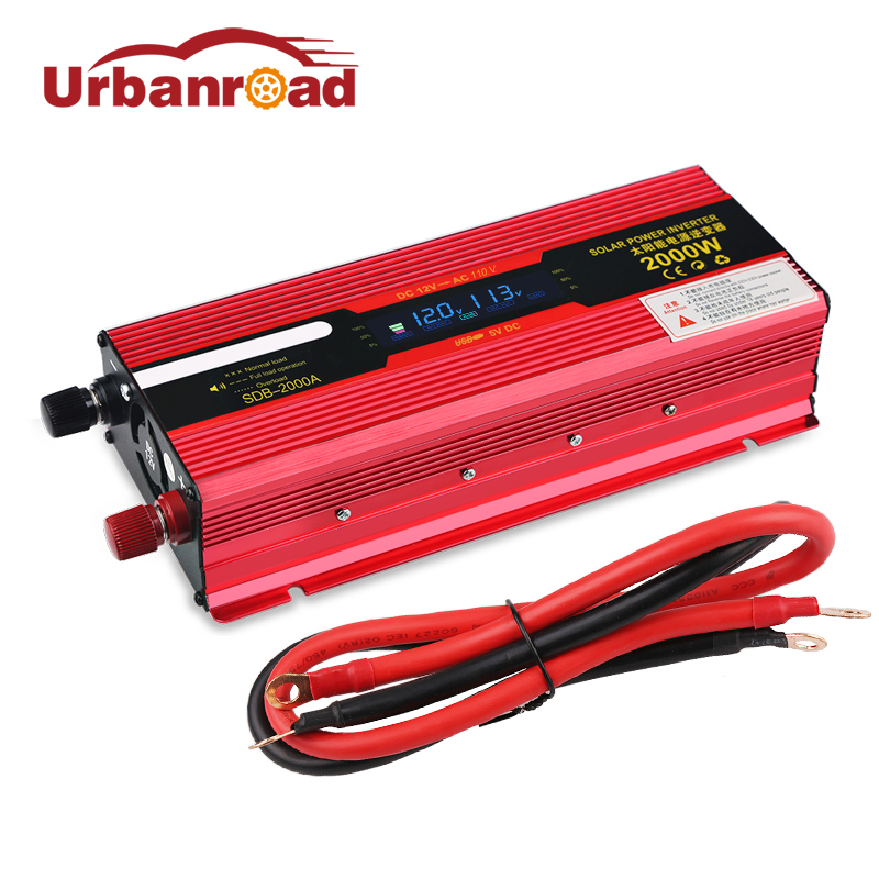 все цены на Urbanroad Car Power Inverter 12v To 220v Voltage Transformer Converter Ac 12v Dc 110V Solar Power Inverter 2000w LCD Display онлайн
