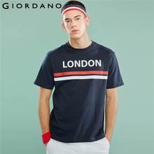 Giordano hommes T Shirt hommes contraste couleur imprimé lettres graphique col rond t shirts hommes manches courtes mode tendances hommes vêtements