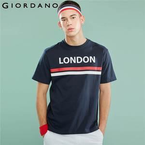 Image 1 - Giordano Мужская футболка, мужские футболки с округлым вырезом, с контрастным принтом, с буквенным принтом, мужские модные тренды с коротким рукавом, мужская одежда