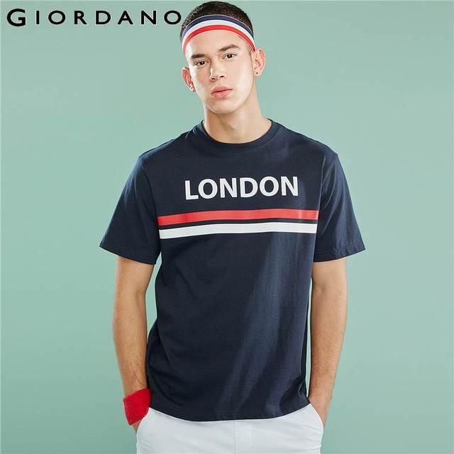 Giordano Мужская футболка, мужские футболки с округлым вырезом, с контрастным принтом, с буквенным принтом, мужские модные тренды с коротким рукавом, мужская одежда