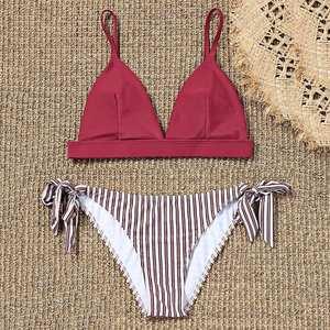6bf009b0b1 Sweet Bathing Suit Striped Tie Side Bikini Bottoms Low Waisted Padded Bra