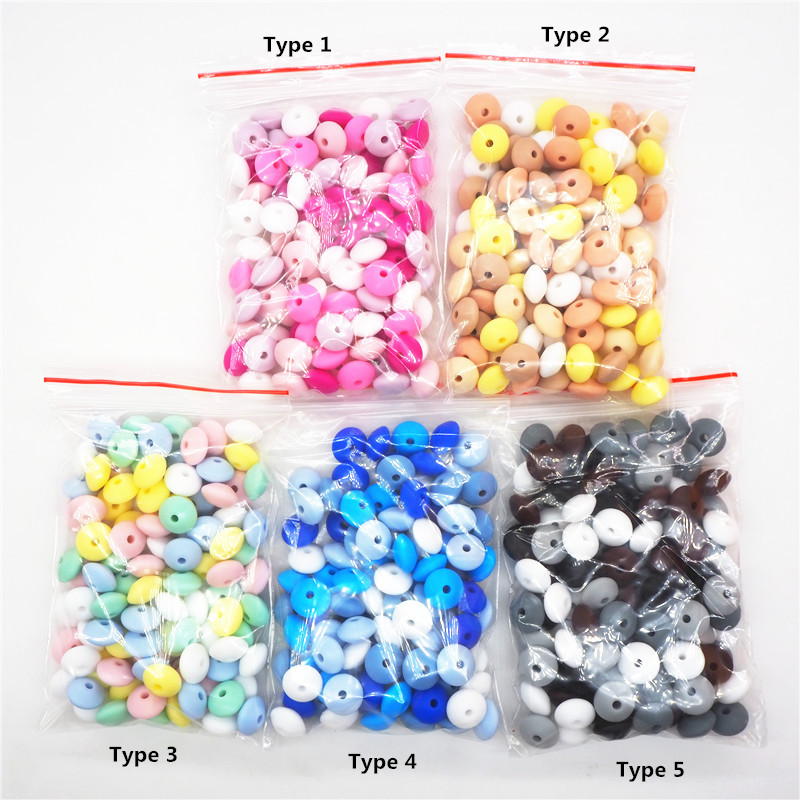 Chenkai 100pcs 12x7mm Silicone Lentil Beads DIY Baby Abacus Shape Teether Pendant Pacifier Jewelry Making Chew Bead Accessories