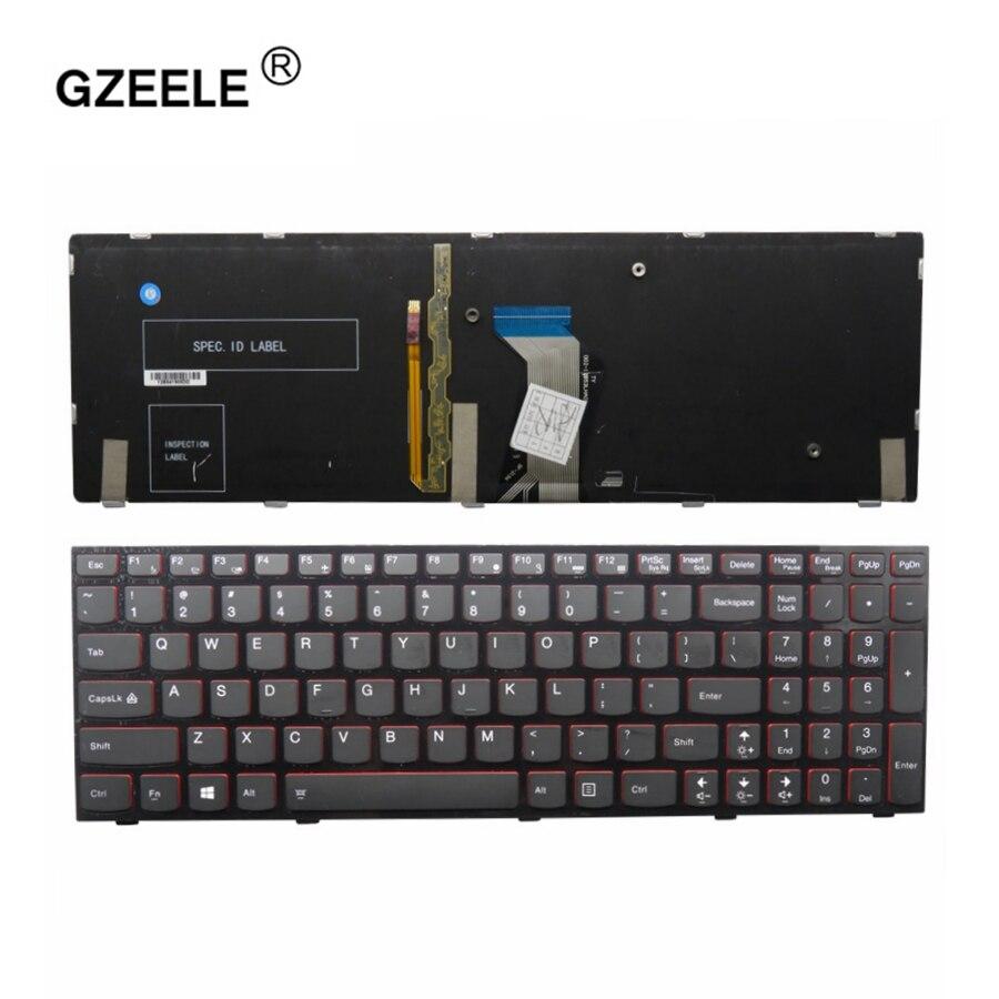 GZEELE nouveau clavier anglais pour Lenovo Y500 Y500N Y510P Y500NT clavier d'ordinateur portable us avec rétro-éclairage remplacer clavier d'ordinateur portable noir