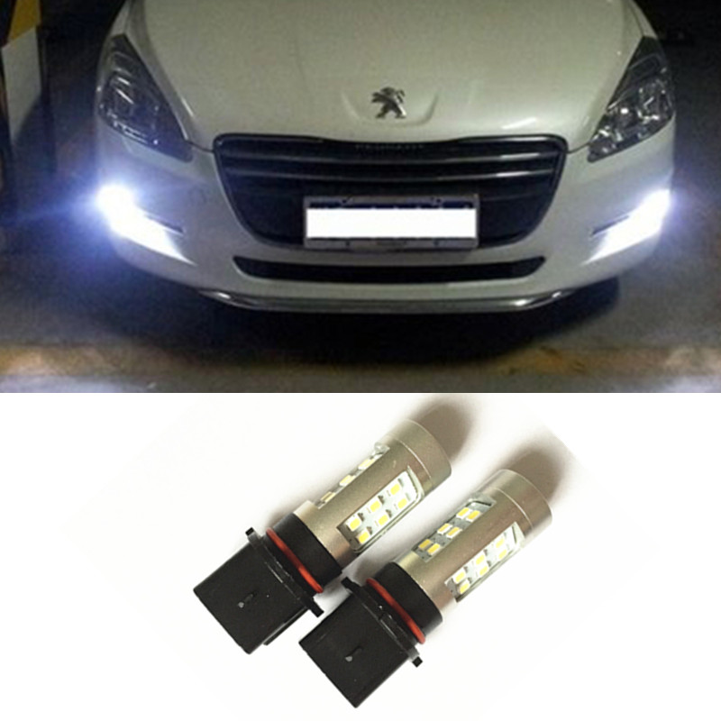 2x High Power Error Free LED P13W / PSX26W Xenon White Driving Fog DRL Lights Bulbs For Peugeot 508 toyota Highlander 2pcs xenon hid white 25w high power 5 xcree xp e chips 881 h27 pgj13 led fog light driving drl bulbs