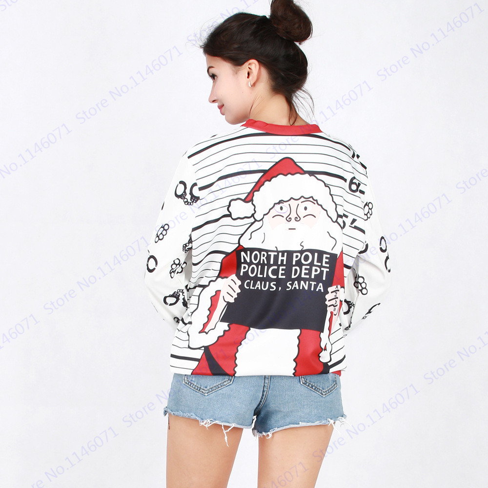 North Pole Police Dept Santa Claus Sweaters Loose Sweatshirts Women  Christmas Tracksuit Winter White Training Exercise Sweaters-in Trainning    Exercise ... f548d5bfa