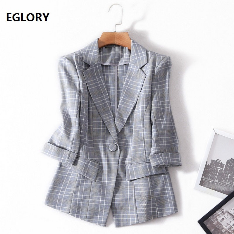2018 Spring Autumn Fashion Vintage Plaid Blazer Women Single Button Blazer Coat Work Lady Jacket Female Tops Suit Blazer Femme