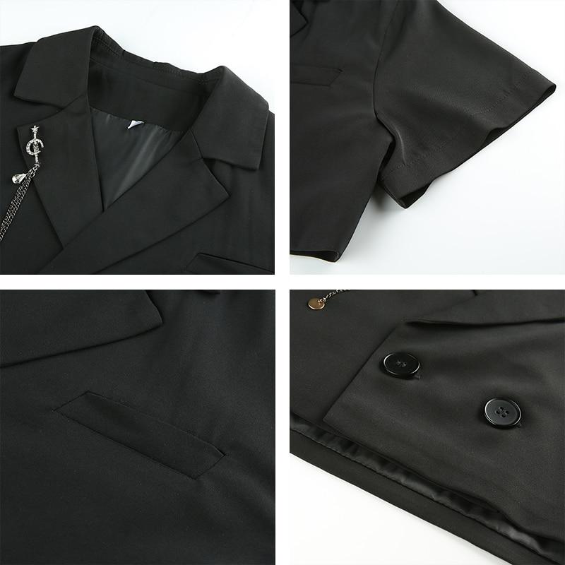 Rapwriter Streetwear Black Notched Single-breasted Blazers Women 2019 Summer Short Sleeve Loose Crop Jacket veste femme blazer