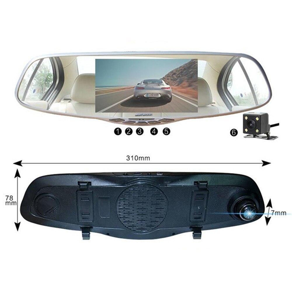 5 HD 1296P 4K Dual Lens Car DVR + Rearview Mirror Video Camera Night Vision T20