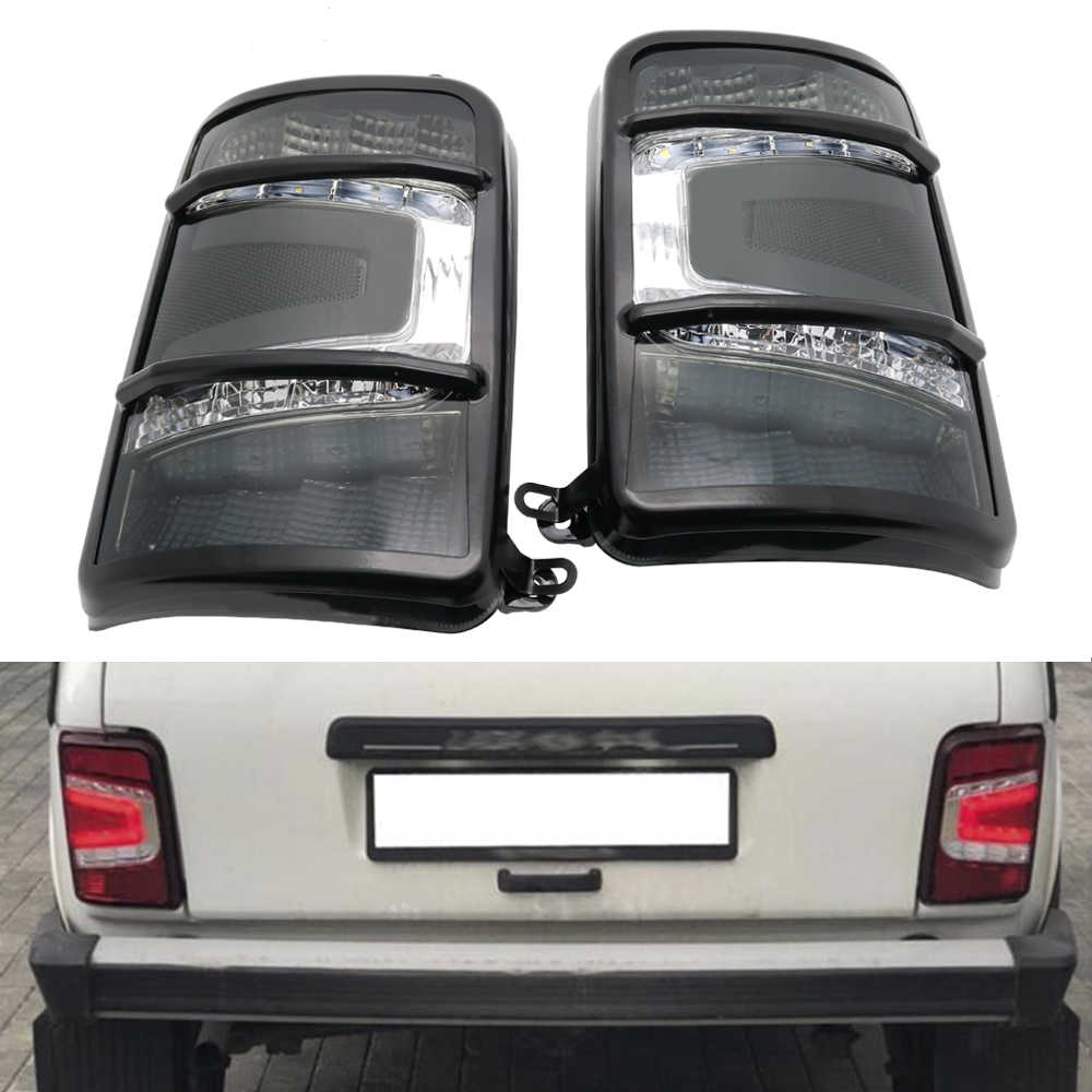 LED rear lights for Lada Niva 4x4 1995- 1 set / 2 pcs grey or red with a running turn signal car styling accessories tuning