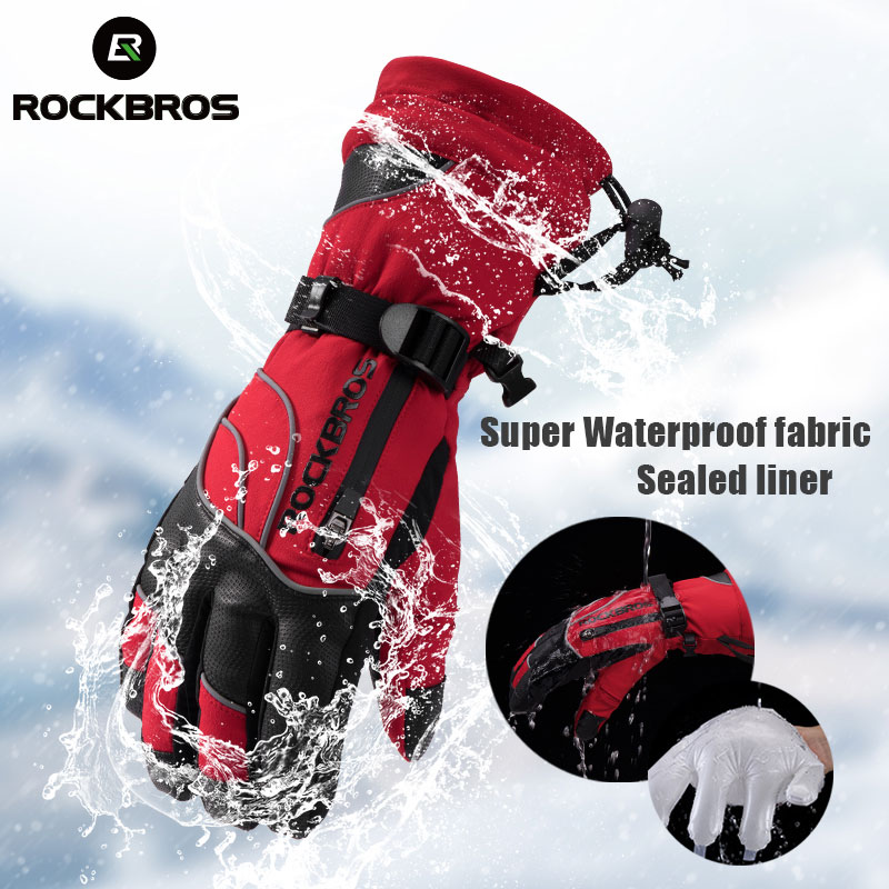 ROCKBROS Windproof Waterproof -30 Degree Winter Men Women Skiing Gloves Snowmobile Snowboard Snow Sports Thermal Grey Ski Gloves