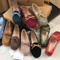 Valentine real Genuine Leather female Luxury brand designer spring elegant casual shoes wit bow boat flat Loafers for women