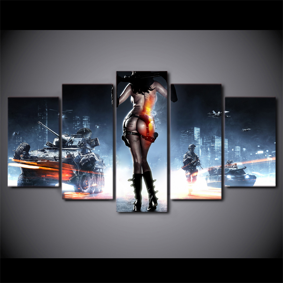 JIE DO ART 5 Piece Painting Modern Pictures Poster HD Printed Wall Art Home Decor Battlefield Female Warrior Game Hip