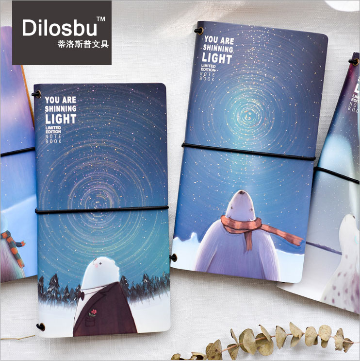 Dilosbu A6 Travel Journal Refill Notebook Luminous Inner Paper Leather Cover Cute Planner School Supplies Small Gift For Student