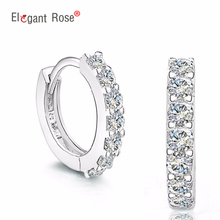 New Single Row Simulated Crystal Silver Color Women Fashion Jewelry Earrings Stud Girl Wedding Party Accessories GSZ0056