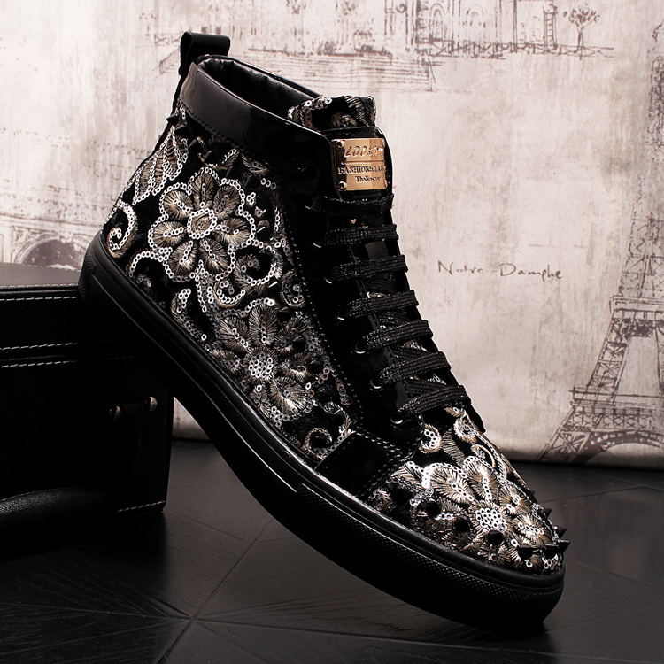 Stephoes 2019 Men Fashion Casual Ankle Boots Spring Autumn Rivets Luxury Brand High Top Sneakers Male High Top Punk Style Shoes 61