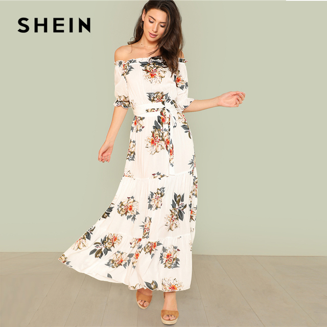 e3ea1f8ed24a SHEIN Off Shoulder Fit And Flare Maxi Dress Summer Off the Shoulder Flounce  Sleeve Flower Print Long Dress Woman Vacation Dress