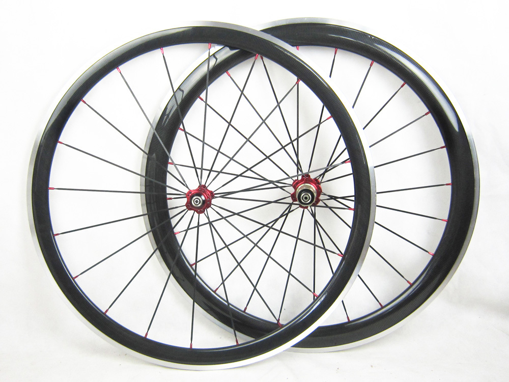 700C carbon clincher wheels with aluminum brake surface front 38mm rear 50mm