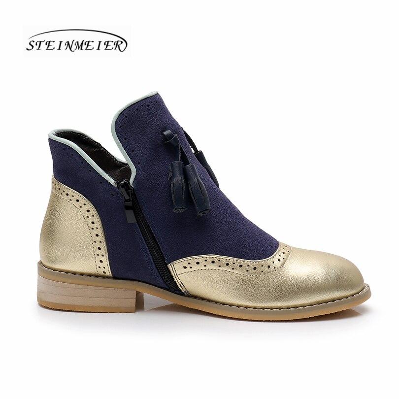 Botas de invierno de cuero genuino de vaca para mujer tobillo chelsea zapatos suaves de calidad cómodos diseñador de marca hecho a mano oro azul con piel-in Botas hasta el tobillo from zapatos    3
