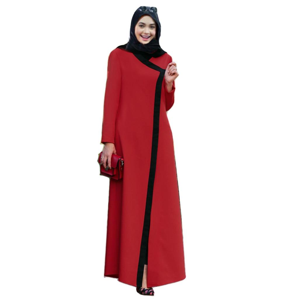d8da9bed0 Cheap Musulmana Vestido de manga larga de las mujeres de color sólido Dubai  islámica las mujeres